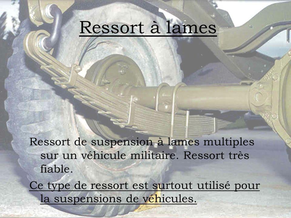 Ressort à lames Ressort de suspension à lames multiples sur un véhicule militaire. Ressort très fiable. Ce type de ressort est surtout utilisé pour la