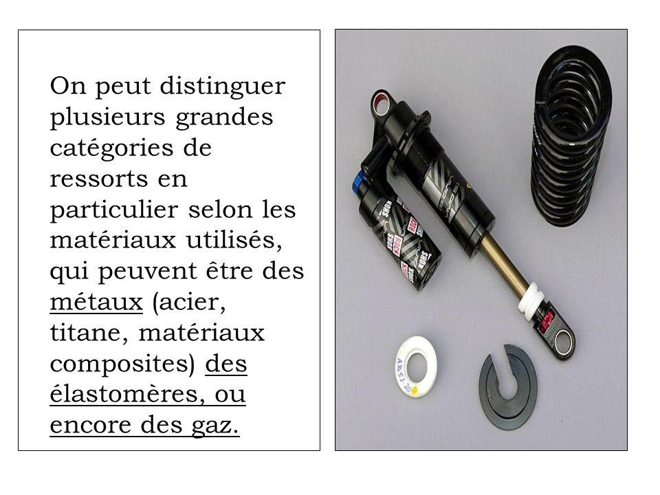 On peut distinguer plusieurs grandes catégories de ressorts en particulier selon les matériaux utilisés, qui peuvent être des métaux (acier, titane, m