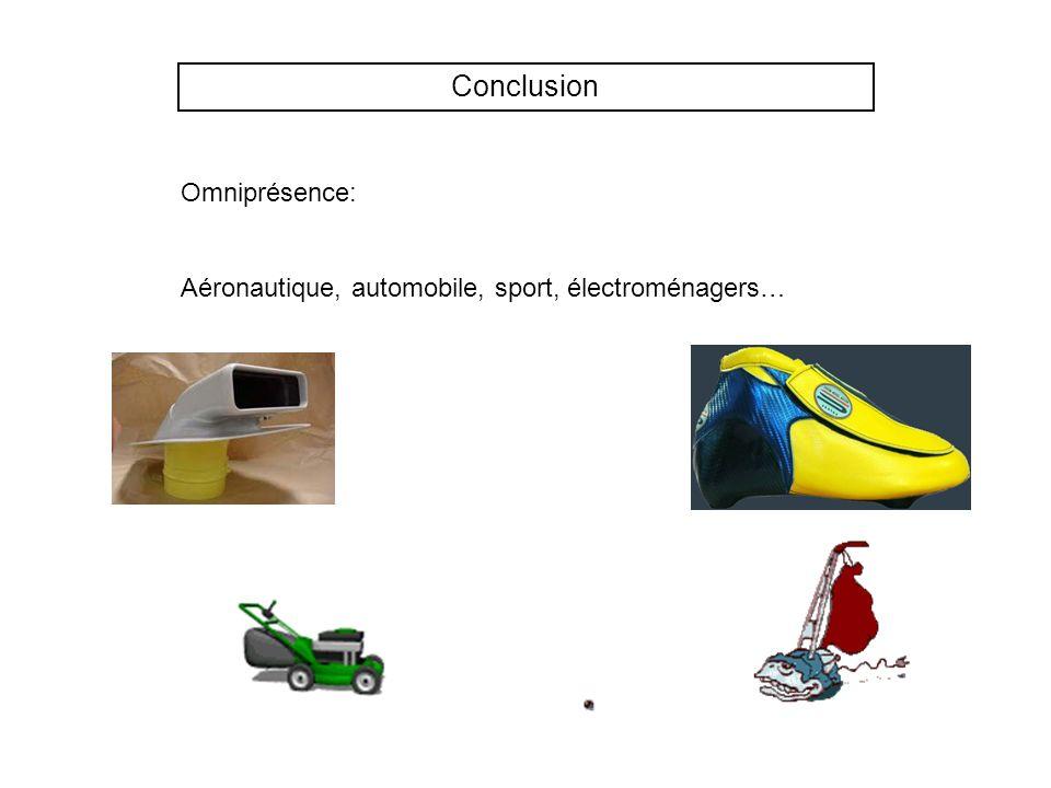 Conclusion Omniprésence: Aéronautique, automobile, sport, électroménagers…