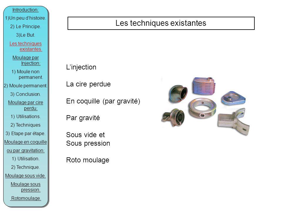 Les techniques existantes Linjection La cire perdue En coquille (par gravité) Par gravité Sous vide et Sous pression Roto moulage Introduction: 1)Un peu dhistoire.