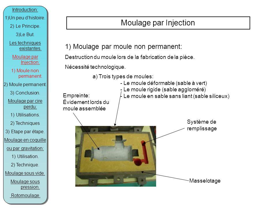 Moulage par Injection 1) Moulage par moule non permanent: Destruction du moule lors de la fabrication de la pièce.