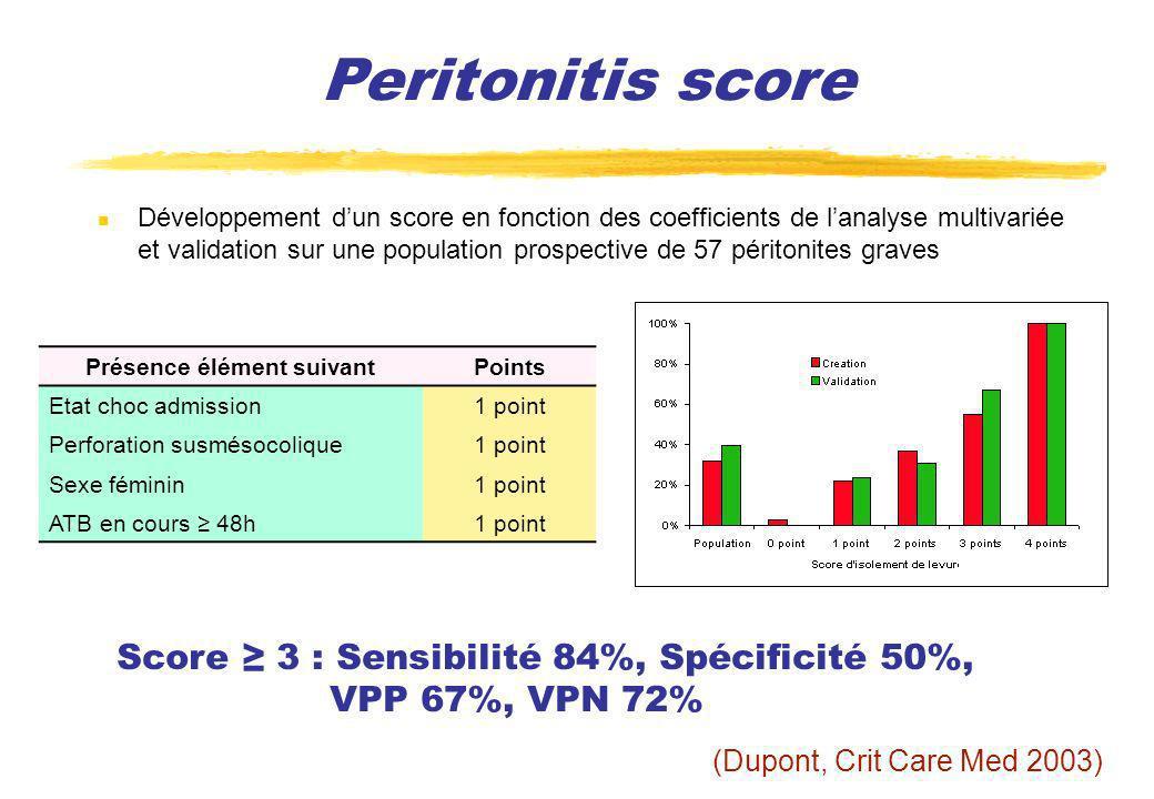 Peritonitis score (Dupont, Crit Care Med 2003) Score 3 : Sensibilité 84%, Spécificité 50%, VPP 67%, VPN 72% Présence élément suivantPoints Etat choc a