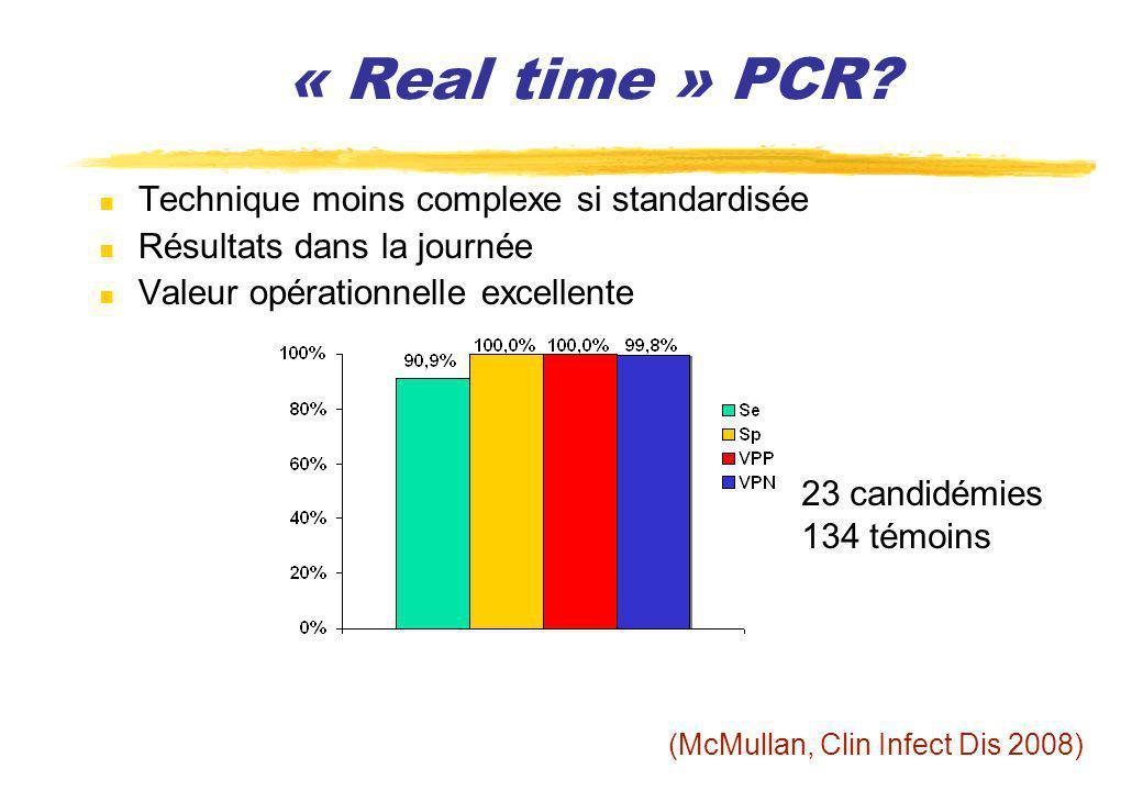 « Real time » PCR? (McMullan, Clin Infect Dis 2008) 23 candidémies 134 témoins Technique moins complexe si standardisée Résultats dans la journée Vale