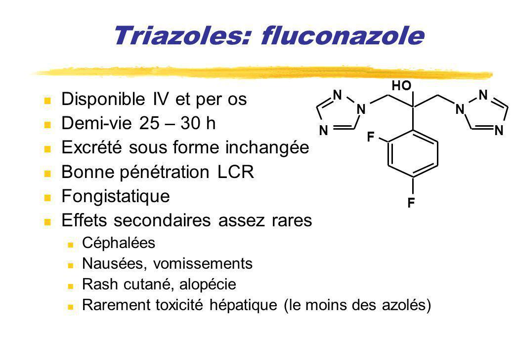 Triazoles: fluconazole Disponible IV et per os Demi-vie 25 – 30 h Excrété sous forme inchangée Bonne pénétration LCR Fongistatique Effets secondaires