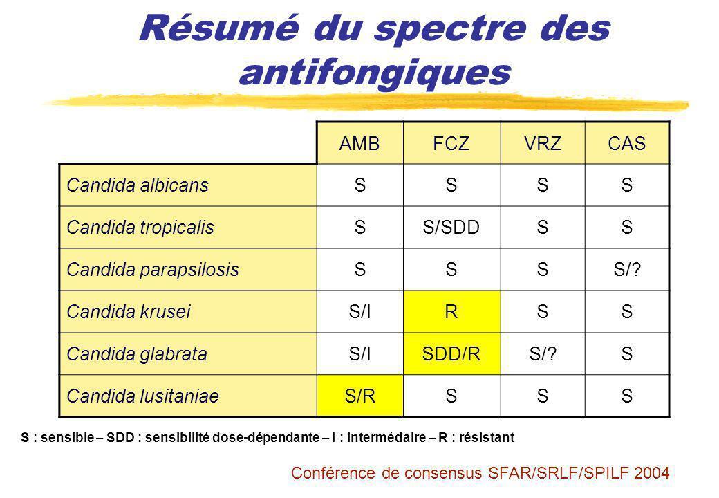 Résumé du spectre des antifongiques AMBFCZVRZCAS Candida albicansSSSS Candida tropicalisSS/SDDSS Candida parapsilosisSSSS/? Candida kruseiS/IRSS Candi