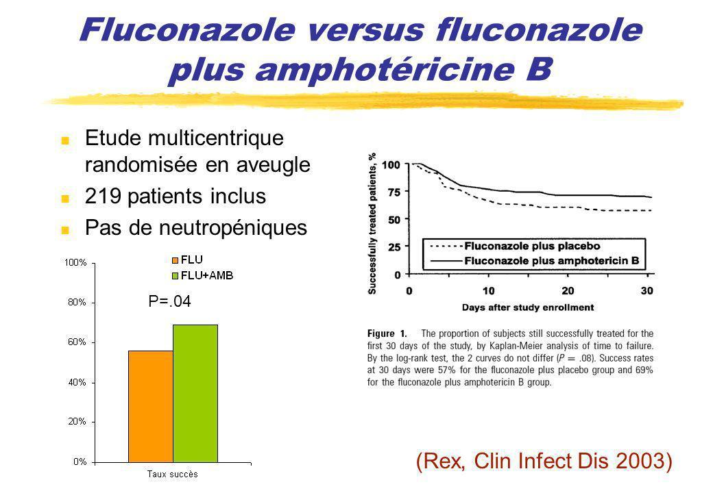 Fluconazole versus fluconazole plus amphotéricine B Etude multicentrique randomisée en aveugle 219 patients inclus Pas de neutropéniques P=.04 (Rex, C