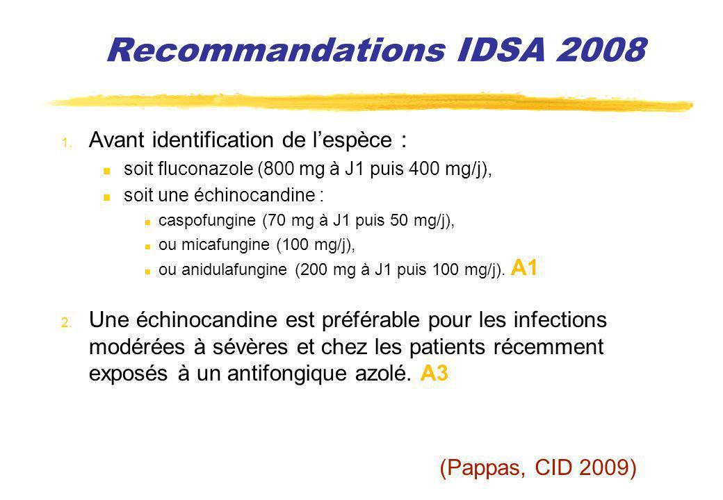 Recommandations IDSA 2008 1. Avant identification de lespèce : soit fluconazole (800 mg à J1 puis 400 mg/j), soit une échinocandine : caspofungine (70