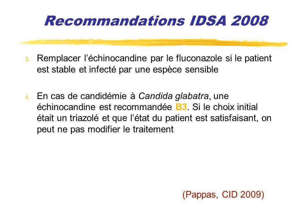 Recommandations IDSA 2008 3. Remplacer léchinocandine par le fluconazole si le patient est stable et infecté par une espèce sensible 4. En cas de cand