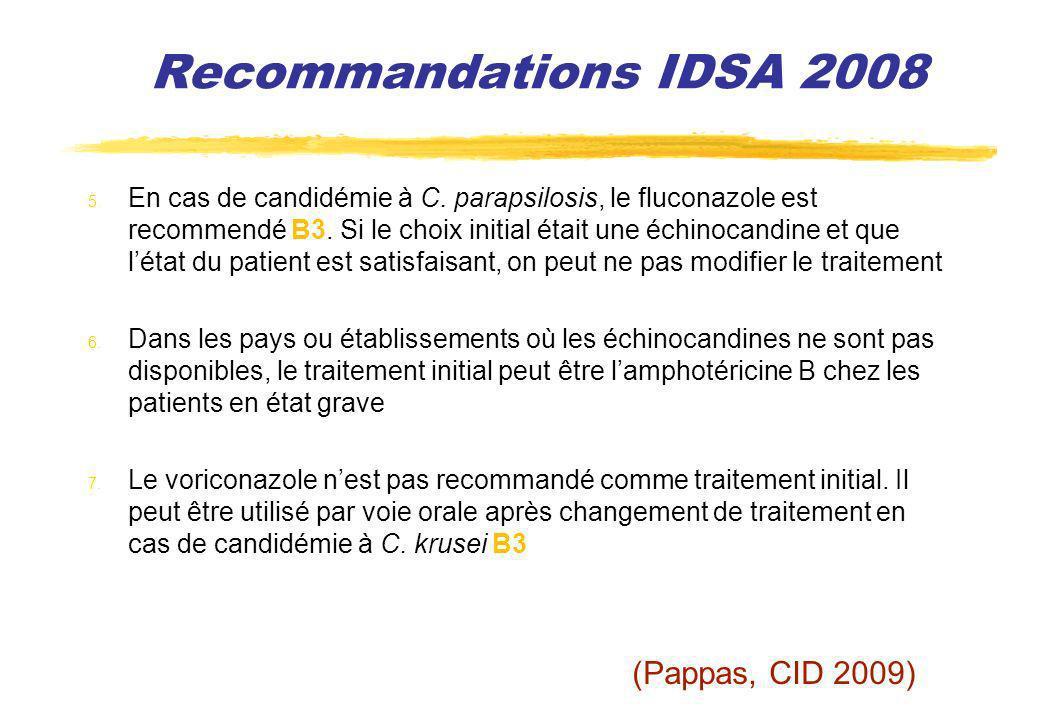 Recommandations IDSA 2008 5. En cas de candidémie à C. parapsilosis, le fluconazole est recommendé B3. Si le choix initial était une échinocandine et