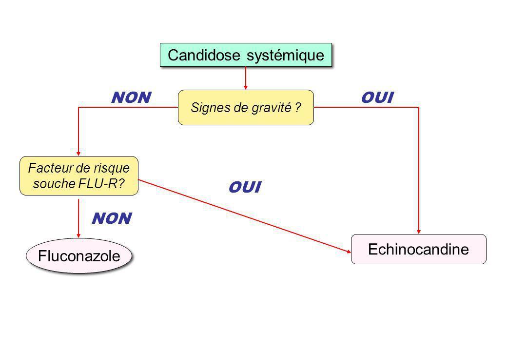 Candidose systémique Signes de gravité ? NON Facteur de risque souche FLU-R? Echinocandine OUI Fluconazole NON