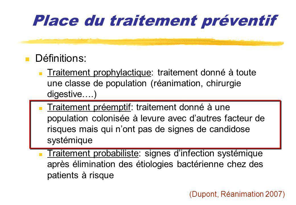 Place du traitement préventif Définitions: Traitement prophylactique: traitement donné à toute une classe de population (réanimation, chirurgie digest