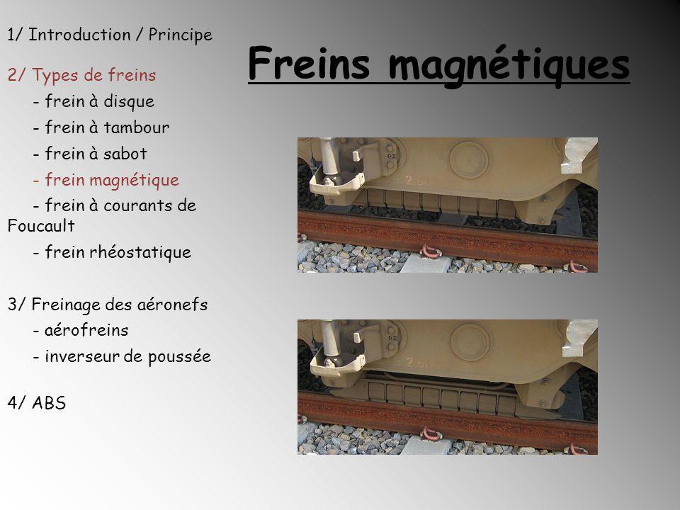 Freins magnétiques 1/ Introduction / Principe 2/ Types de freins - frein à disque - frein à tambour - frein à sabot - frein magnétique - frein à coura