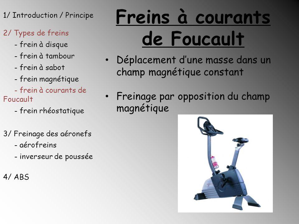 Freins à courants de Foucault Déplacement dune masse dans un champ magnétique constant Freinage par opposition du champ magnétique 1/ Introduction / P