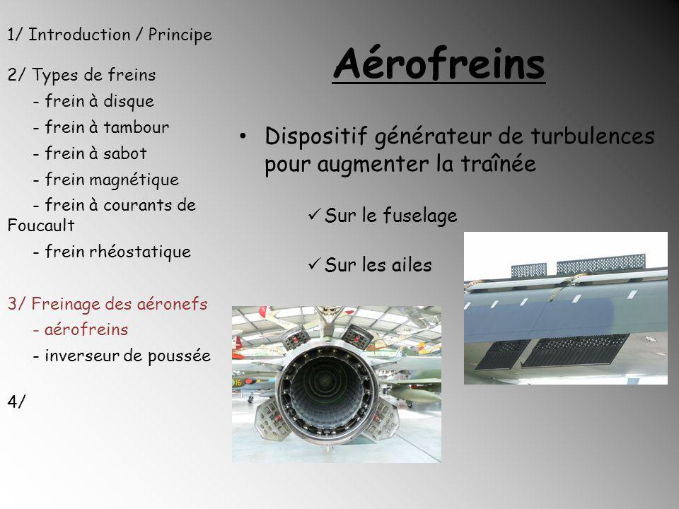 Aérofreins 1/ Introduction / Principe 2/ Types de freins - frein à disque - frein à tambour - frein à sabot - frein magnétique - frein à courants de F