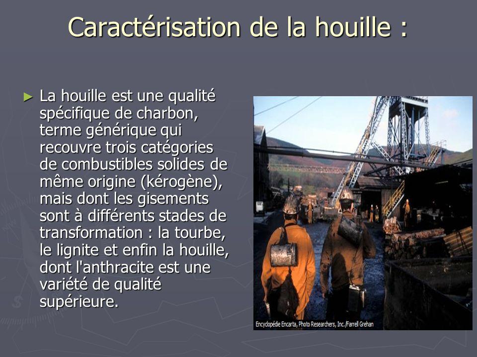 Caractérisation de la houille : La houille est une qualité spécifique de charbon, terme générique qui recouvre trois catégories de combustibles solide