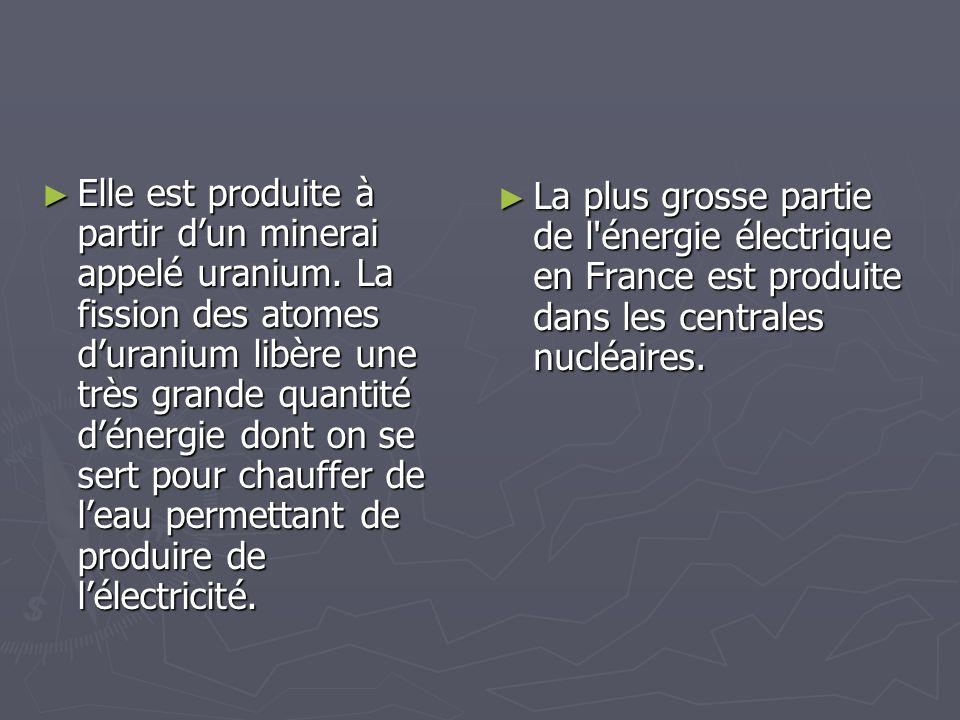 Elle est produite à partir dun minerai appelé uranium. La fission des atomes duranium libère une très grande quantité dénergie dont on se sert pour ch