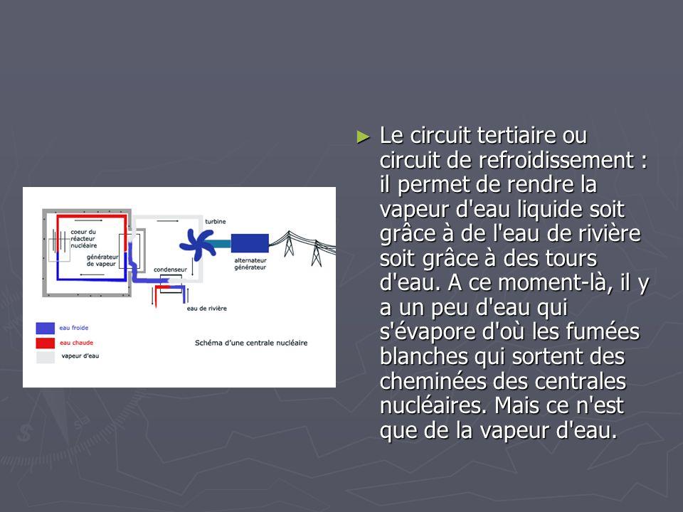 Le circuit tertiaire ou circuit de refroidissement : il permet de rendre la vapeur d'eau liquide soit grâce à de l'eau de rivière soit grâce à des tou