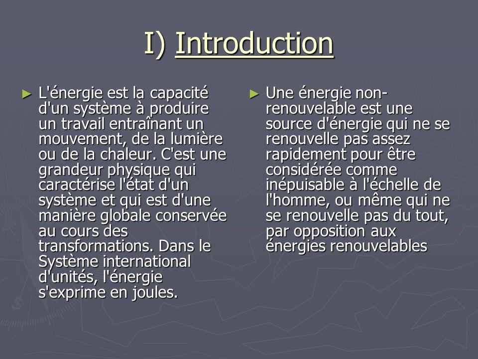 I) Introduction L'énergie est la capacité d'un système à produire un travail entraînant un mouvement, de la lumière ou de la chaleur. C'est une grande