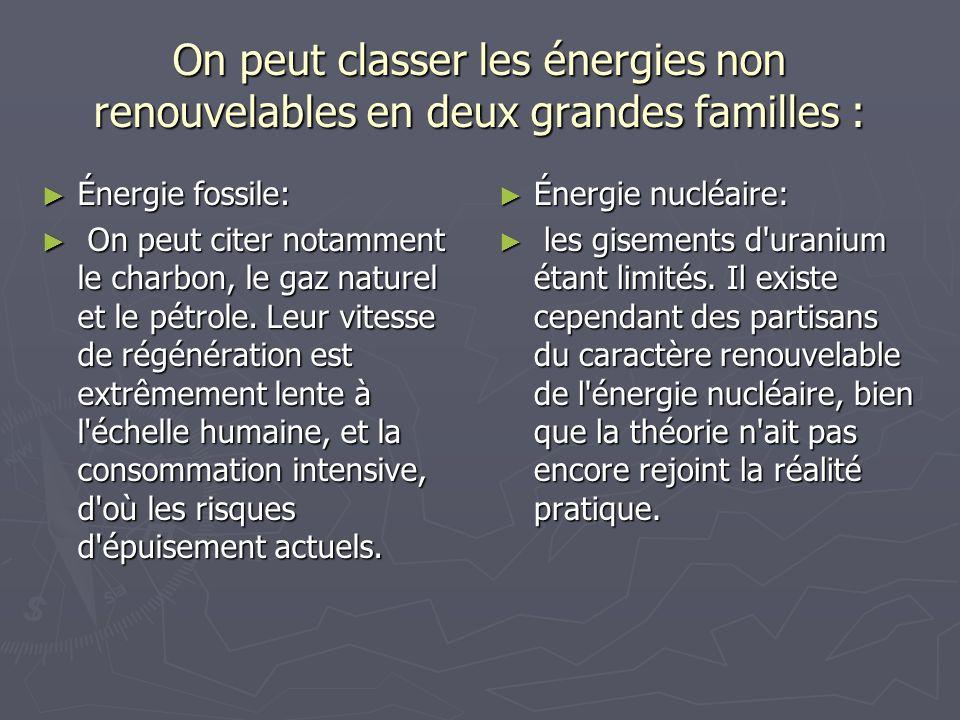 On peut classer les énergies non renouvelables en deux grandes familles : Énergie fossile: Énergie fossile: On peut citer notamment le charbon, le gaz
