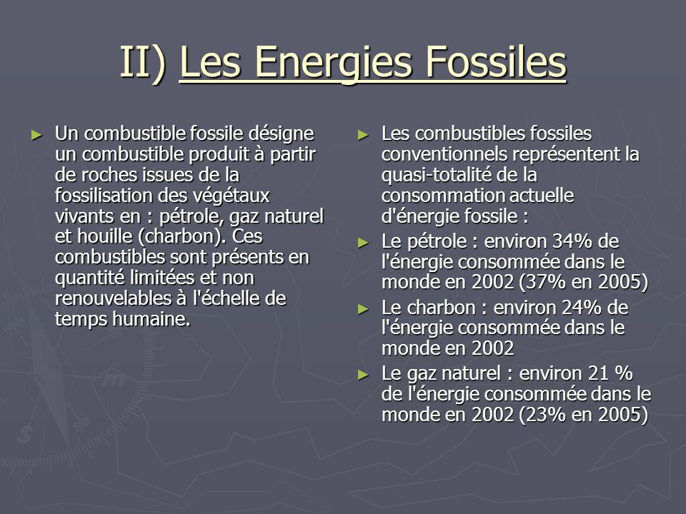 II) Les Energies Fossiles Un combustible fossile désigne un combustible produit à partir de roches issues de la fossilisation des végétaux vivants en