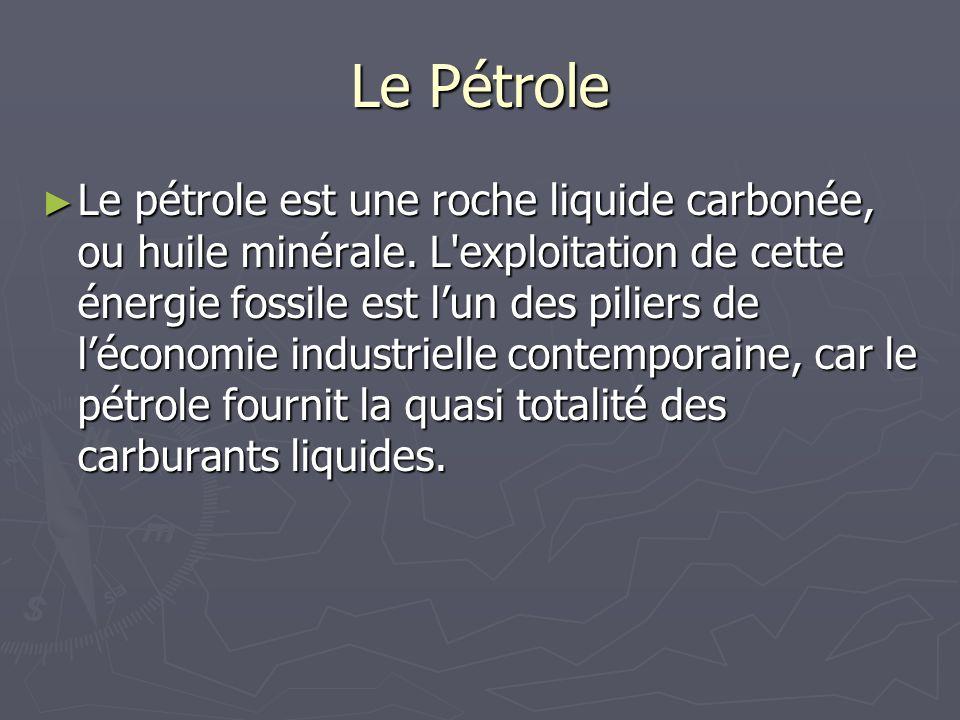 Le Pétrole Le pétrole est une roche liquide carbonée, ou huile minérale. L'exploitation de cette énergie fossile est lun des piliers de léconomie indu