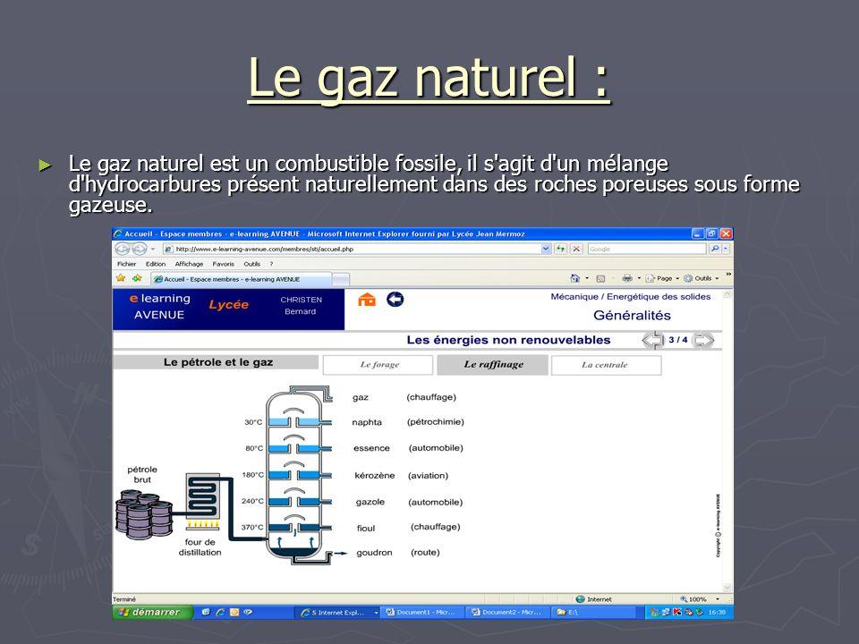Le gaz naturel : Le gaz naturel est un combustible fossile, il s'agit d'un mélange d'hydrocarbures présent naturellement dans des roches poreuses sous