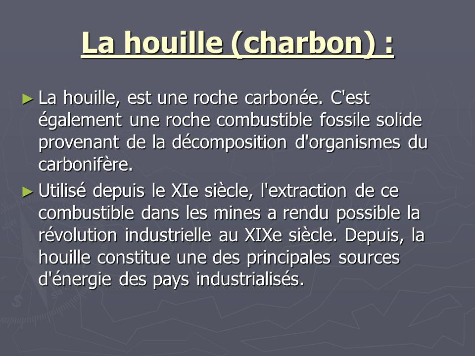 La houille (charbon) : La houille, est une roche carbonée. C'est également une roche combustible fossile solide provenant de la décomposition d'organi