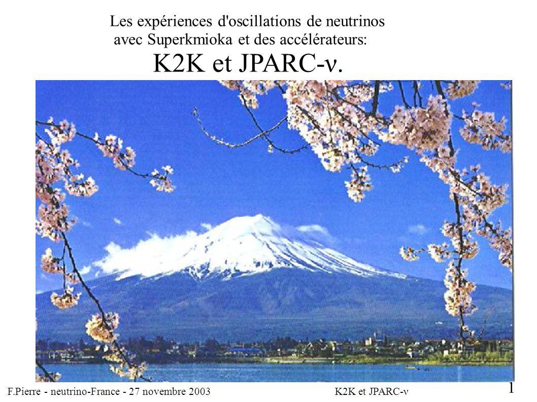F.Pierre – neutrino-France - 27 novembre 2003 Résumé et remarques: L expérience K2K confirme avec des neutrinos artificiels l oscillation vue avec les neutrinos atmosphériques.