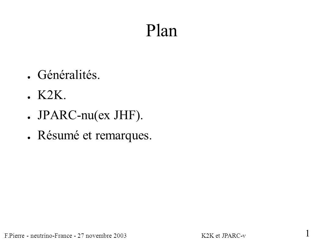 F.Pierre - neutrino-France - 27 novembre 2003 K2K et JPARC-ν 1 Résultats K2K.