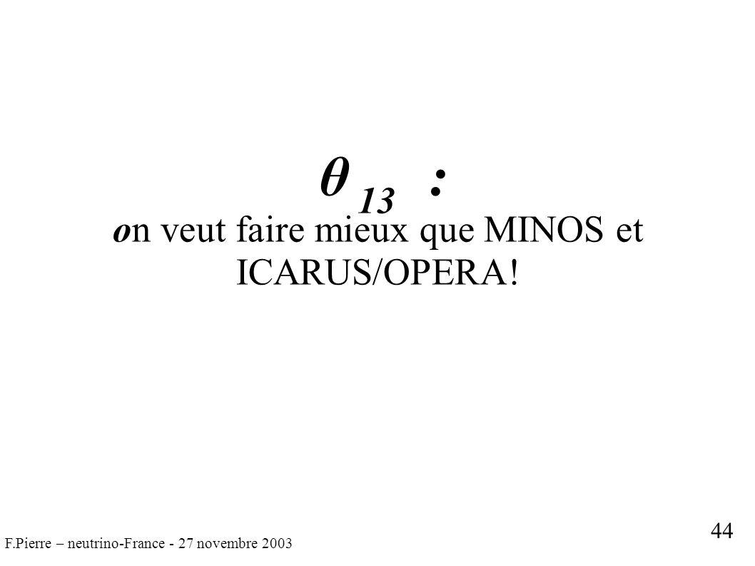 F.Pierre – neutrino-France - 27 novembre 2003 θ 13 : on veut faire mieux que MINOS et ICARUS/OPERA.