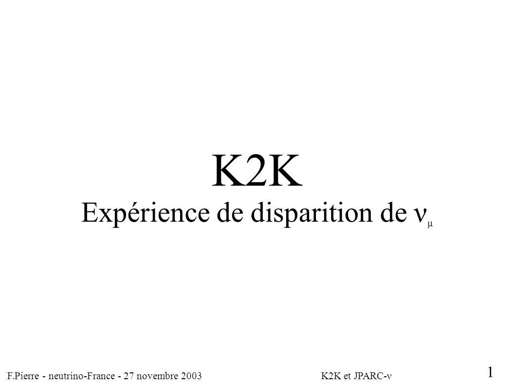 F.Pierre - neutrino-France - 27 novembre 2003 K2K et JPARC-ν 1 K2K Expérience de disparition de ν μ
