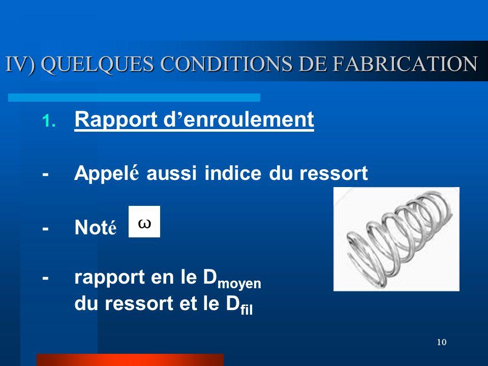 10 IV) QUELQUES CONDITIONS DE FABRICATION 1. Rapport d enroulement -Appel é aussi indice du ressort -Not é -rapport en le D moyen du ressort et le D f
