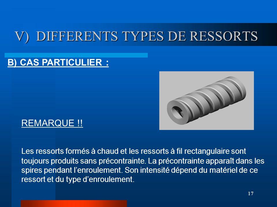 17 V) DIFFERENTS TYPES DE RESSORTS V) DIFFERENTS TYPES DE RESSORTS B) CAS PARTICULIER : REMARQUE !! Les ressorts formés à chaud et les ressorts à fil