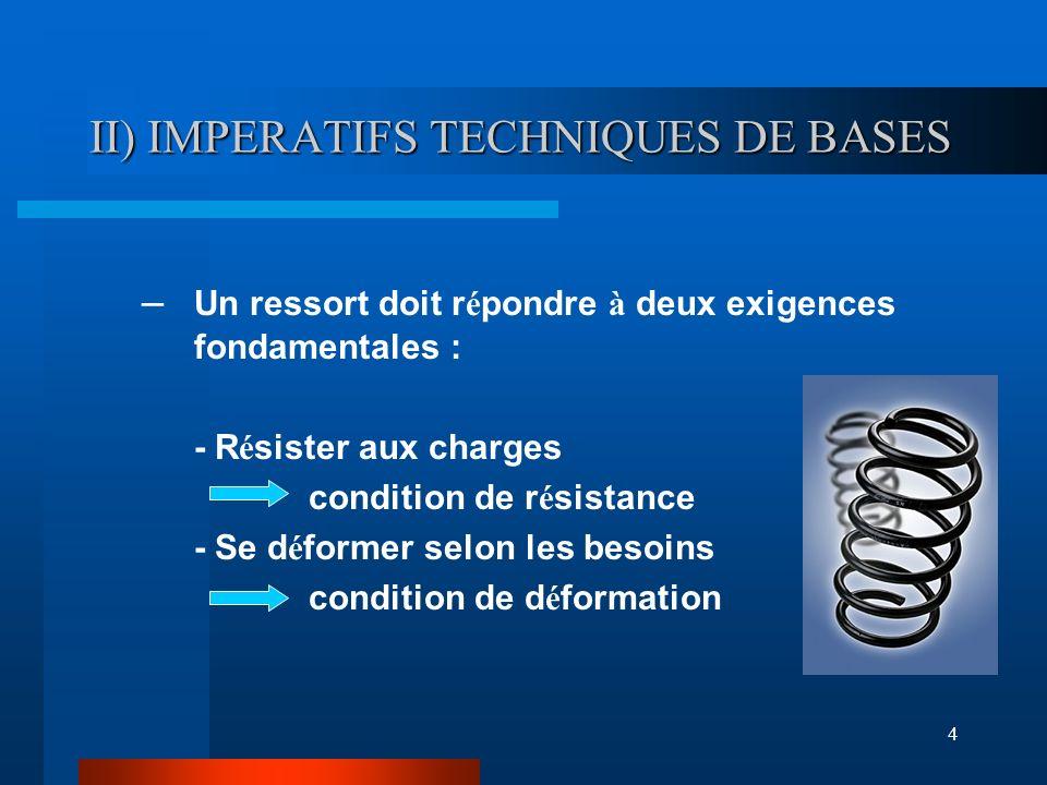4 II) IMPERATIFS TECHNIQUES DE BASES – Un ressort doit r é pondre à deux exigences fondamentales : - R é sister aux charges condition de r é sistance