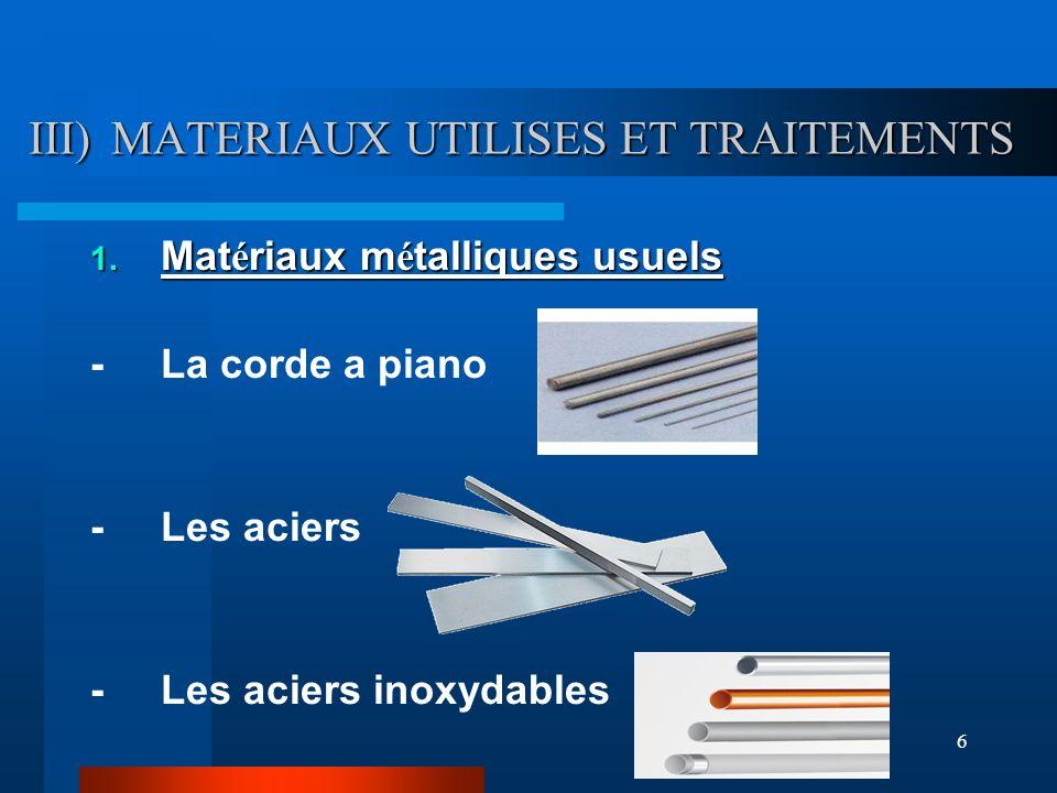 6 III) MATERIAUX UTILISES ET TRAITEMENTS 1. Mat é riaux m é talliques usuels - La corde a piano - Les aciers - Les aciers inoxydables