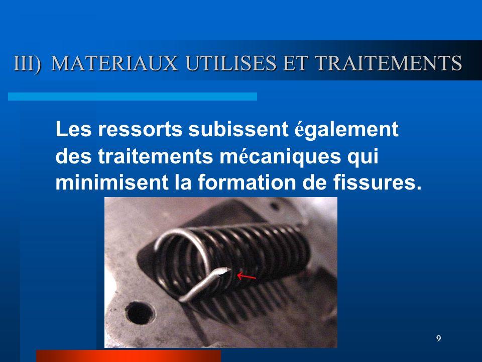 9 III) MATERIAUX UTILISES ET TRAITEMENTS Les ressorts subissent é galement des traitements m é caniques qui minimisent la formation de fissures.