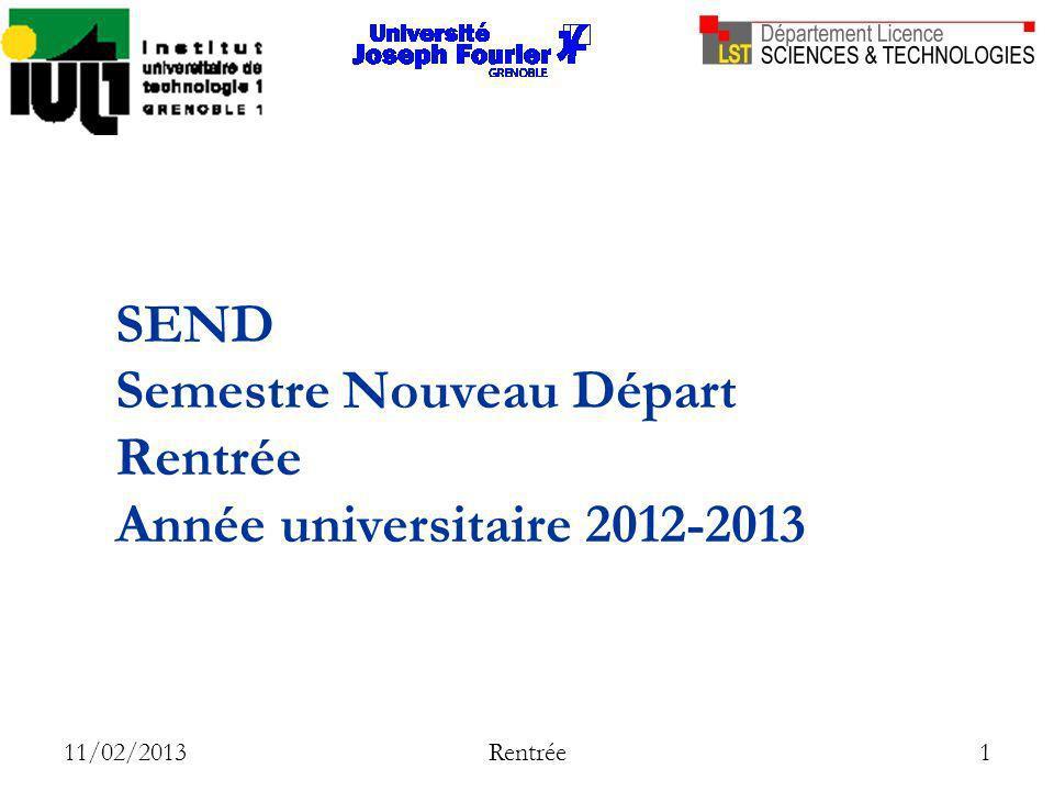 11/02/2013 Rentrée 1 SEND Semestre Nouveau Départ Rentrée Année universitaire 2012-2013