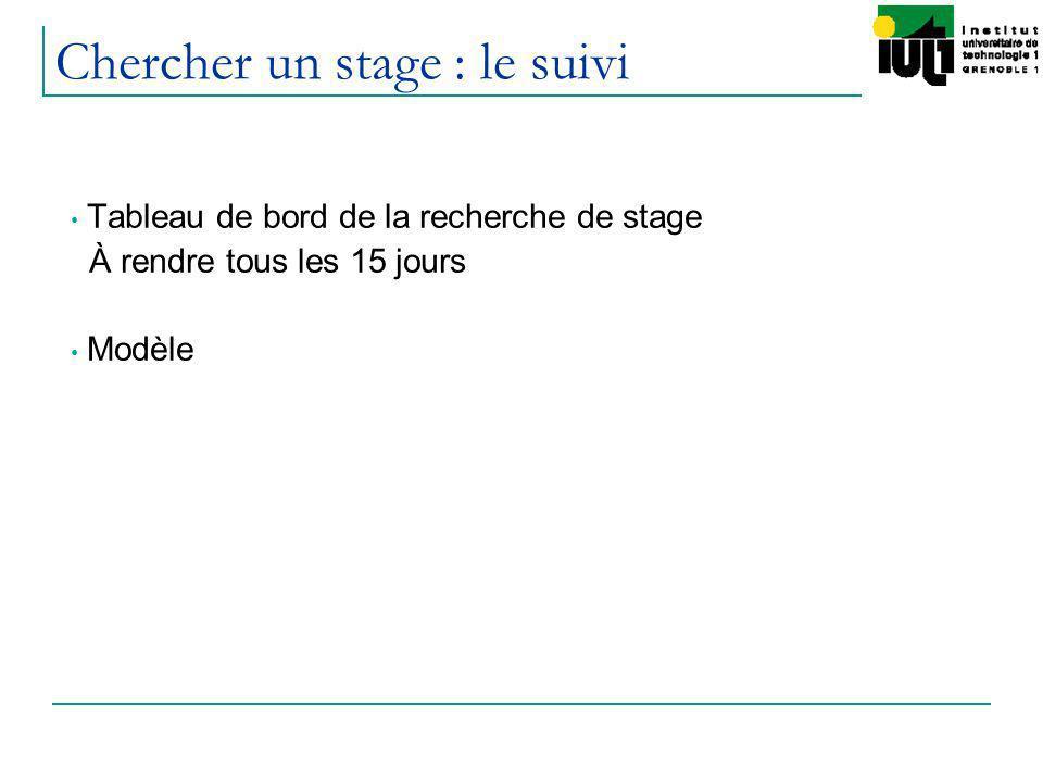 Chercher un stage : le suivi Tableau de bord de la recherche de stage À rendre tous les 15 jours Modèle
