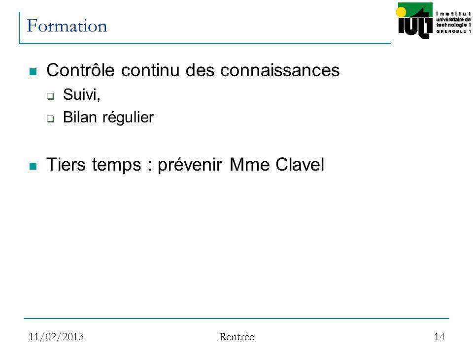11/02/2013 Rentrée 14 Formation Contrôle continu des connaissances Suivi, Bilan régulier Tiers temps : prévenir Mme Clavel