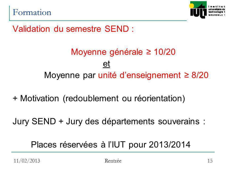11/02/2013 Rentrée 15 Formation Validation du semestre SEND : Moyenne générale 10/20 et Moyenne par unité denseignement 8/20 + Motivation (redoublemen