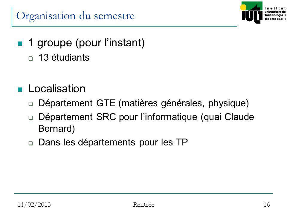 11/02/2013 Rentrée 16 Organisation du semestre 1 groupe (pour linstant) 13 étudiants Localisation Département GTE (matières générales, physique) Dépar