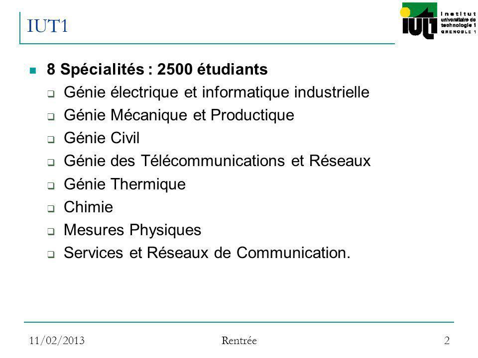 11/02/2013 Rentrée 2 IUT1 8 Spécialités : 2500 étudiants Génie électrique et informatique industrielle Génie Mécanique et Productique Génie Civil Géni