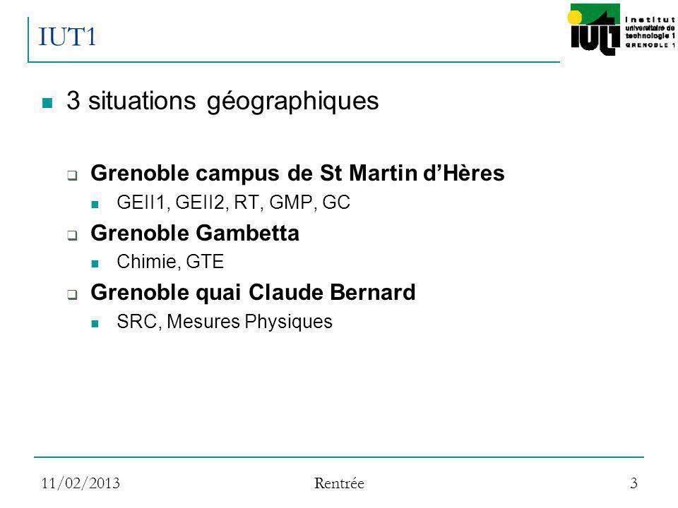11/02/2013 Rentrée 3 IUT1 3 situations géographiques Grenoble campus de St Martin dHères GEII1, GEII2, RT, GMP, GC Grenoble Gambetta Chimie, GTE Greno