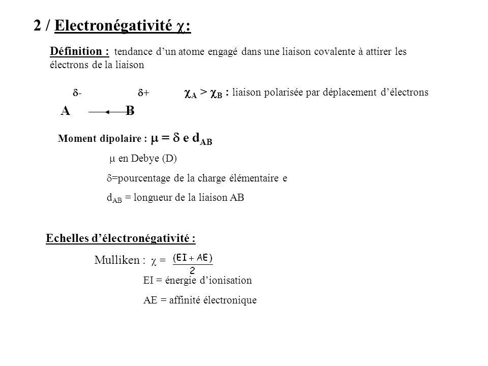 2 / Electronégativité : Définition : tendance dun atome engagé dans une liaison covalente à attirer les électrons de la liaison AB - + A > B : liaison polarisée par déplacement délectrons Moment dipolaire : = e d AB en Debye (D) =pourcentage de la charge élémentaire e d AB = longueur de la liaison AB Echelles délectronégativité : Mulliken : = EI = énergie dionisation AE = affinité électronique