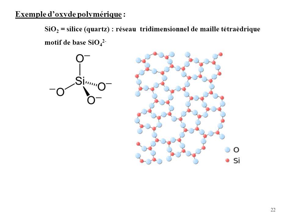 22 Exemple doxyde polymérique : SiO 2 = silice (quartz) : réseau tridimensionnel de maille tétraèdrique motif de base SiO 4 2-