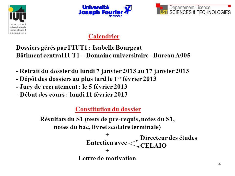 4 Calendrier Dossiers gérés par lIUT1 : Isabelle Bourgeat Bâtiment central IUT1 – Domaine universitaire - Bureau A005 - Retrait du dossier du lundi 7