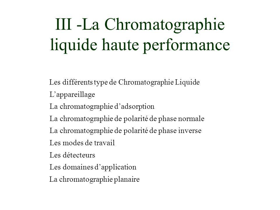 III -La Chromatographie liquide haute performance Les différents type de Chromatographie Liquide Lappareillage La chromatographie dadsorption La chrom