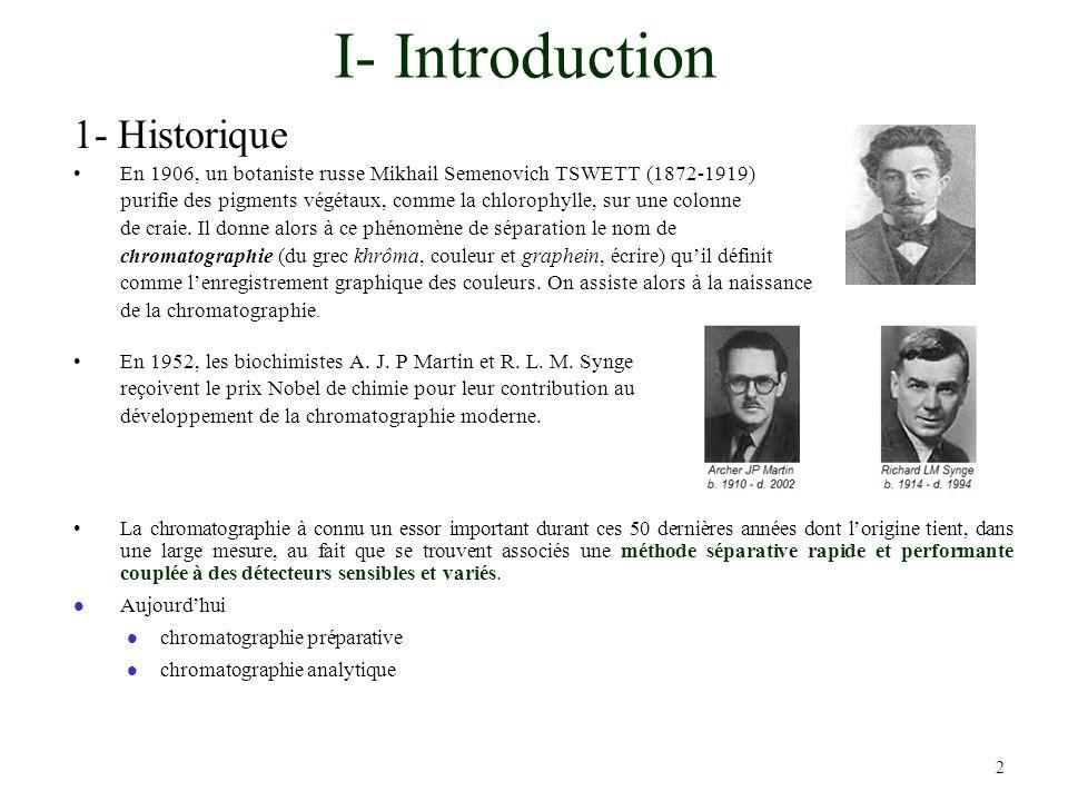 2 I- Introduction 1- Historique En 1906, un botaniste russe Mikhail Semenovich TSWETT (1872-1919) purifie des pigments végétaux, comme la chlorophylle
