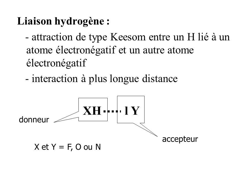 Liaison hydrogène : - attraction de type Keesom entre un H lié à un atome électronégatif et un autre atome électronégatif - interaction à plus longue