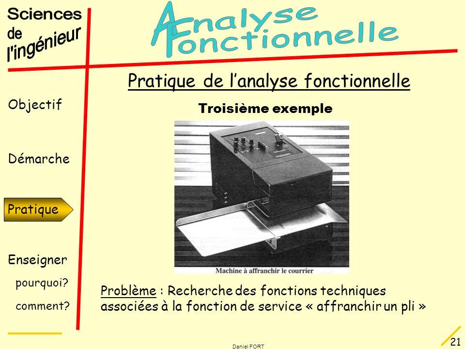 Objectif Démarche Pratique Enseigner pourquoi? comment? Daniel FORT 21 Pratique Pratique de lanalyse fonctionnelle Troisième exemple Problème : Recher